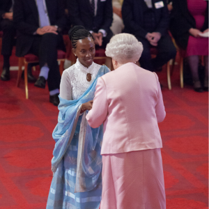 Nadia Hitimana received the inaugural Queen's Young Leaders Award from H.R.H. Queen Elizabeth.
