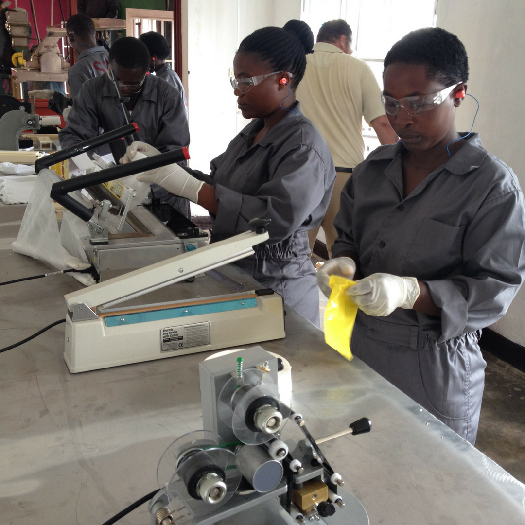 SHE launched its pilot-industrial scale production site in Rwanda producing 500 pads/day.