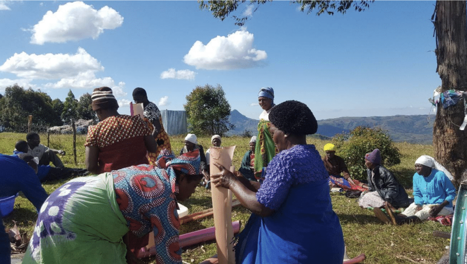 SHE Global Technical Director Leah Putman worked with farmers in Zimbabwe to assess feasibility of natural fiber pads outside of Rwanda.